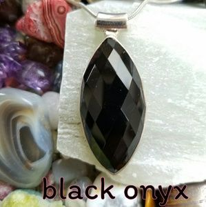 Black Onyx Necklace Sterling Silver NEW